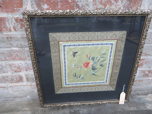 """Vintage Framed Japanese Embroidery Square on Silk, 19 1/2"""" square"""