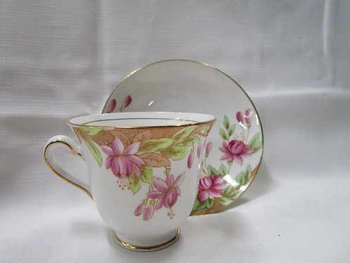 Rosina Teacup and Saucer with Pink Fuchsia
