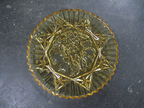 Vintage Amber Glass Fruit Design Platter
