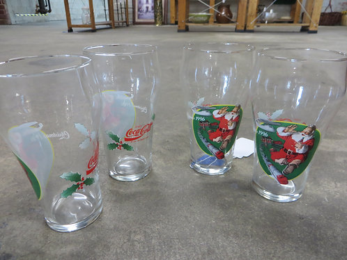 Vintage 1996 Santa Coca-Cola Santa Glasses Set of 4