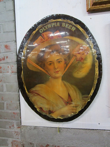 Vintage Olympia Beer Woman Wood Oval Sign Plaque