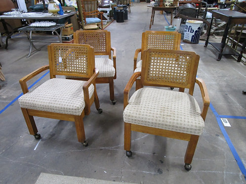 Vintage Universal Furniture Cane Back Upholstered Seat Dining Chairs Set of 4