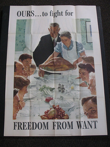Original 1943 WWII Norman Rockwell Freedom From Want War Poster