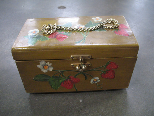 Vintage Solid Wood Train Box Purse with Decoupage Strawberries