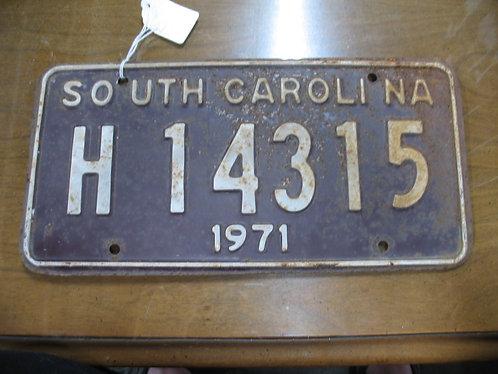 1971 South Carolina Automobile License Plate