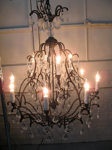 Wrought Iron and Crystal 12 Light Candleabra Chandelier