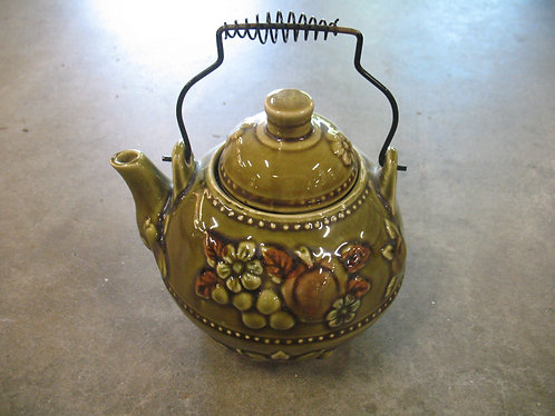 Vintage Green Ceramic Fruit & Flower Teapot