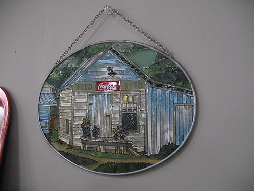 Coca-Cola Feed Seed Stained Glass Oval Sun Catcher