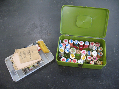 Vintage Avocado Green Plastic Sewing Box with Accessories