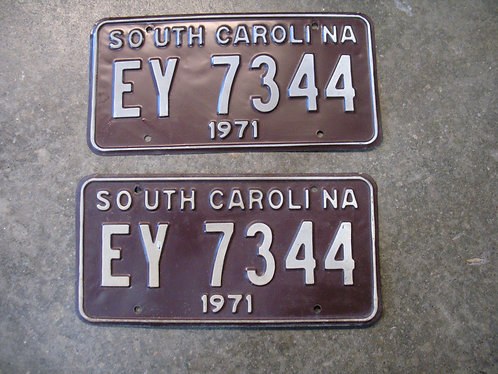 1971 South Carolina EY 7344 Matched Pair