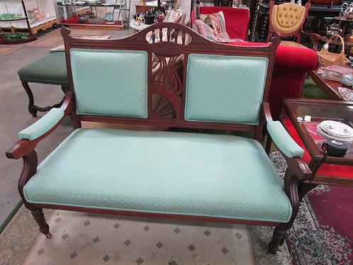 Antique Eastlake Spindle Back Upholstered Settee