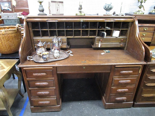 Antique Oak Eight Drawer with Pullouts Tambour Rolltop Desk