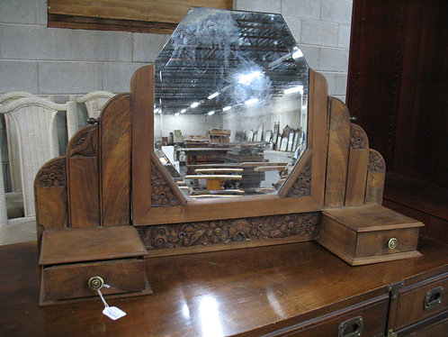 Vintage French Hand Carved Dresser Top Mirror