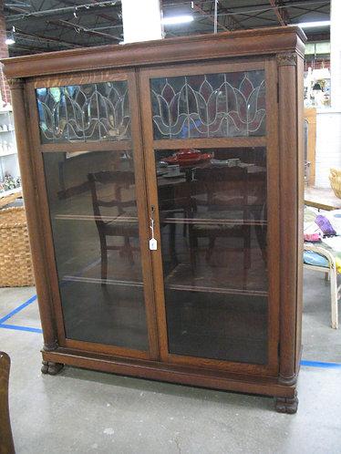 Antique Oak Lead Glass Door Display Bookcase Cabinet
