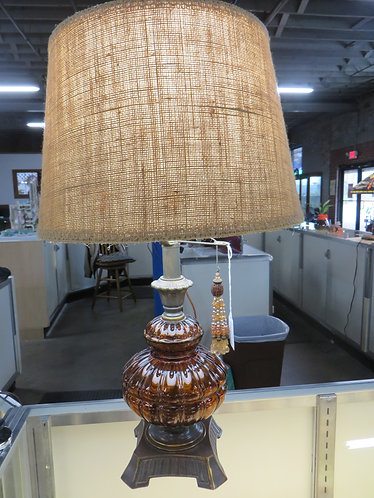Vintage Mid Century Modern Amber Glass Lamps with Tassel Pulls