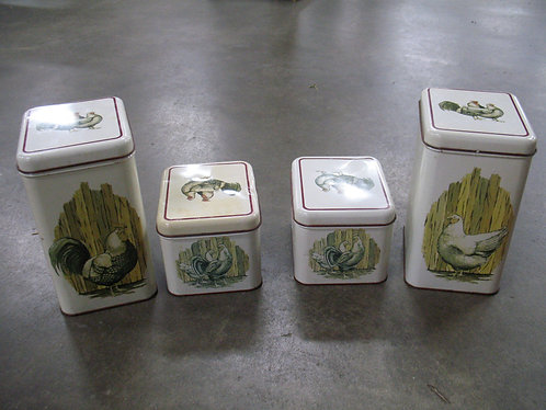 Vintage Cheinco Rooster & Hen Metal Canister Set of 4