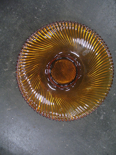 Vintage Made in France Amber Glass Ribbed Console Bowl