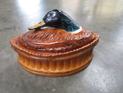Vintage Pillivuyt France Mallard Duck in a Crust Covered Casserole Vegetable Dis