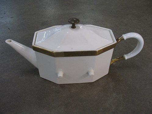 Vintage USA White with Gold Tone Trim Teapot
