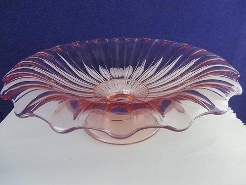 Vintage Pink Depression Glass Heisey Rolled Edge Pedestal Bowl