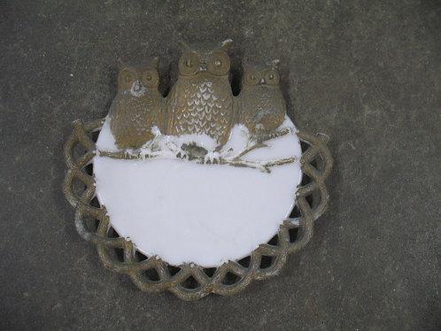 Antique Westmoreland Milk Glass Owl Decor Plate Wall Hanging