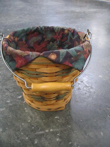 2002 Longaberger Baskets Handwoven Egg Basket with Fabric Liner
