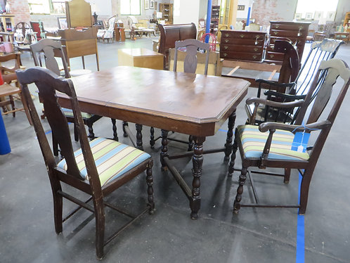 Antique Dining Table and (4) Upholstered Dining Chairs