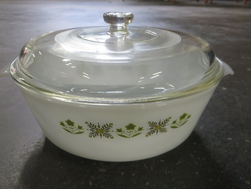Vintage Fire King 439 Green Floral Casserole Dish with Lid