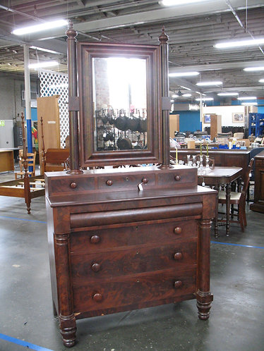 Antique Empire Wood Veneer Dresser with Attached Tilt Mirror