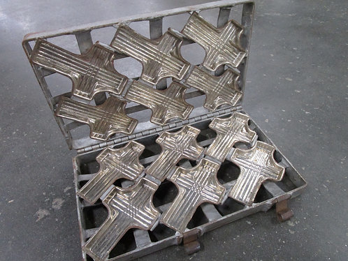 Vintage Metal 6 Slot Chocolate Cross Mold