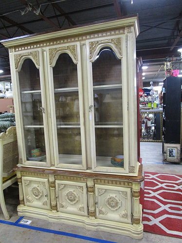 Vintage French Provincial Arch Top Two Piece China Hutch Display Cabinet