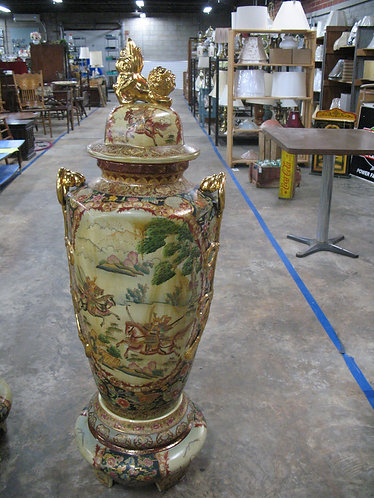 Vintage Oriental Double Handled Tall Urn with Foo Dog Lid & Pedestal