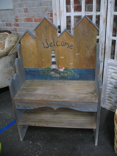 Handpainted Nautical Lighthouse Welcome Bench