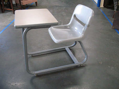 Metal Base Student Desk with Molded Seat and Attached Laminate Desk