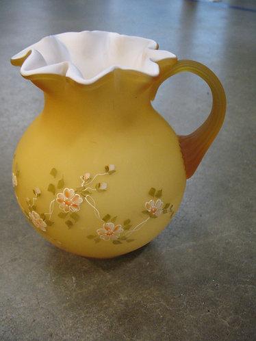 Fenton Handpainted Amber Cased Glass Ewer