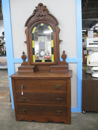 Vintage Walnut Dresser with Stained Glass Attached Mirror