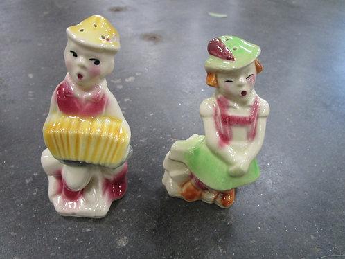 Vintage Ceramic Swiss Alpine Boy & Girl Salt/Pepper Shaker Set