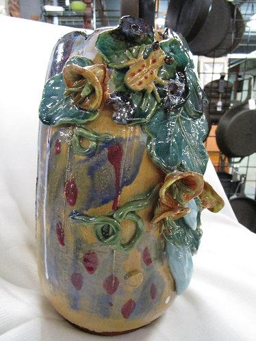 Ceramic Drip Glaze Frog and Floral Decor Vase