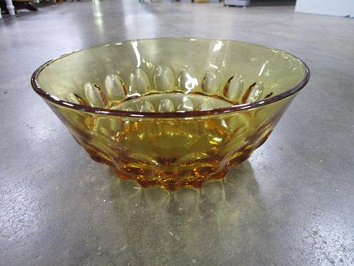 Vintage Amber Glass Thumbprint Large Serving Bowl