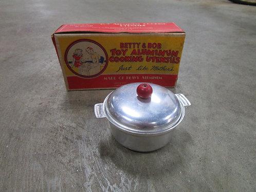Circa 1940's Betty and Bob Toy Aluminum Dutch Oven with Original Box
