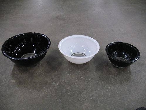 Vintage Pyrex Black/White Clear Bottom Mixing Bowls Set of 3