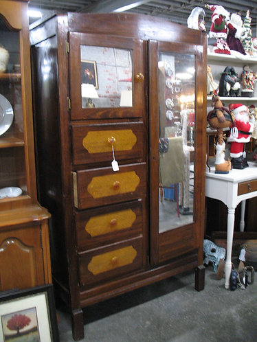Vintage Wood Chifferobe with Drawers
