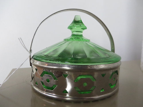 Vintage Fenton Uranium Green Silver Plated Divided Dish Holder