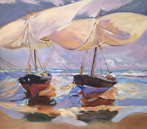 "Study of Joaquin Sorolla's ""Beached Boats"" - Oil"