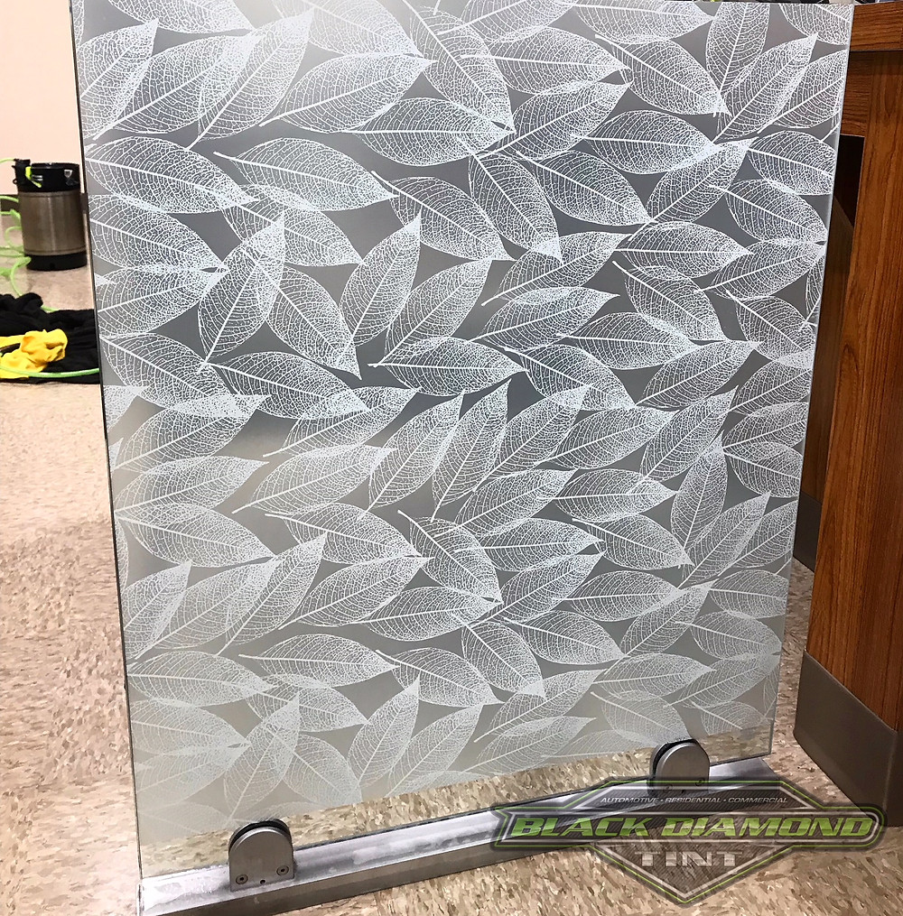 Decorative frosted leaf glass films