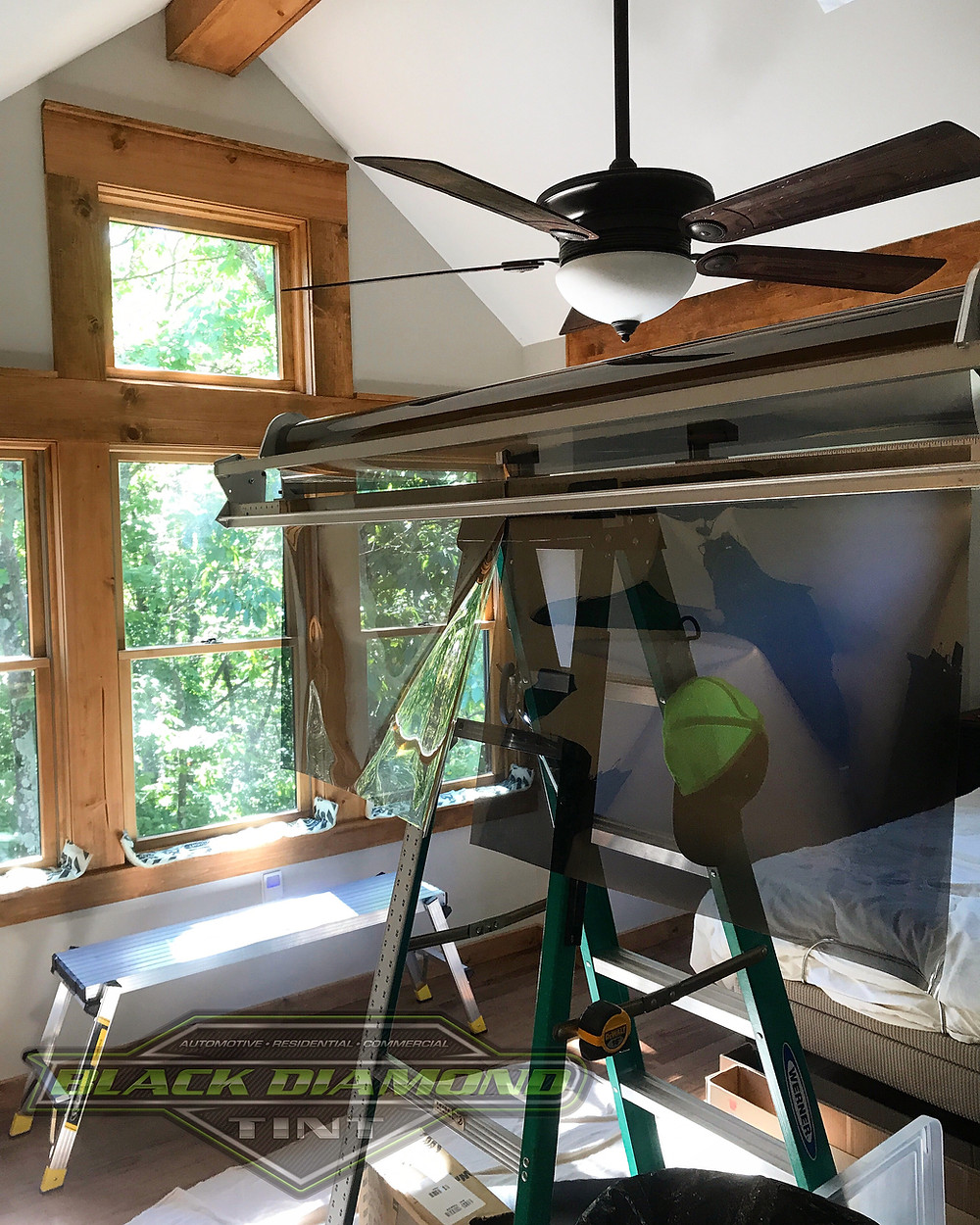 Cutting tint for windows in house