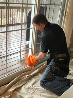 Cleaning sliding doors