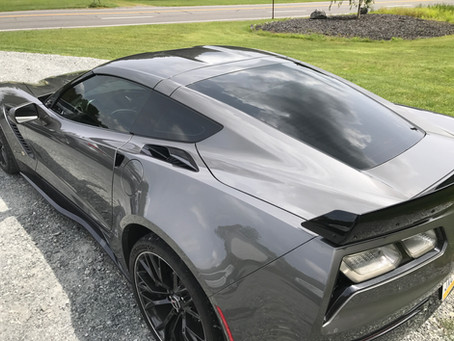 New Corvette Z06 tinted with Ceramic Window Tinting for Orwigsburg, PA owner