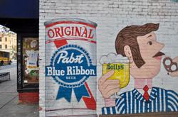 pabst blue ribbon mural