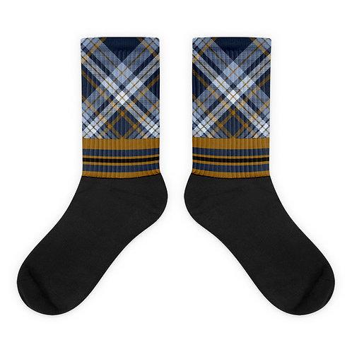 Blue/Gold Argyle   Black Foot Sublimated Socks